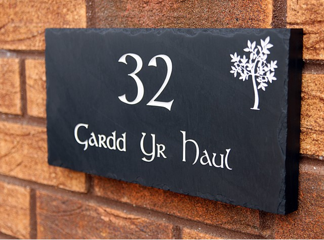 Welsh Slate House Sign - 150mm x 300mm x 20mm
